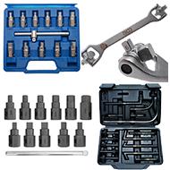 Tepalo išleidimo įrankiai/ Įrankiai alyvos keitimui/ alyvos kamščių atsukimo įrankiai/ jų remonto komplektai