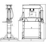 Pneumatinis / hidraulinis presas su manometru 40t (TY40001)