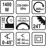 Elektrinis diskinis pjūklas 1400W   185 mm (79257)