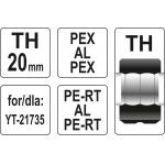 Atsarginis indėklas TH 20 mm presavimo replėms YT-21735 (YT-21745)