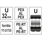 Atsarginis indėklas U 32 mm presavimo replėms YT-21735 (YT-21743)