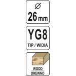 Grąžtas/freza medžiui 26mm (YT-33010)