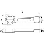 Raktas smūginis kilpinis 24mm (YT-1601)