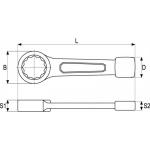 Raktas smūginis kilpinis 27mm (YT-1602)