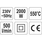 "Techninis kaitinimo fenas/orpūtė 70~550°c 2000Watt ""Yato"" (YT-82288)"