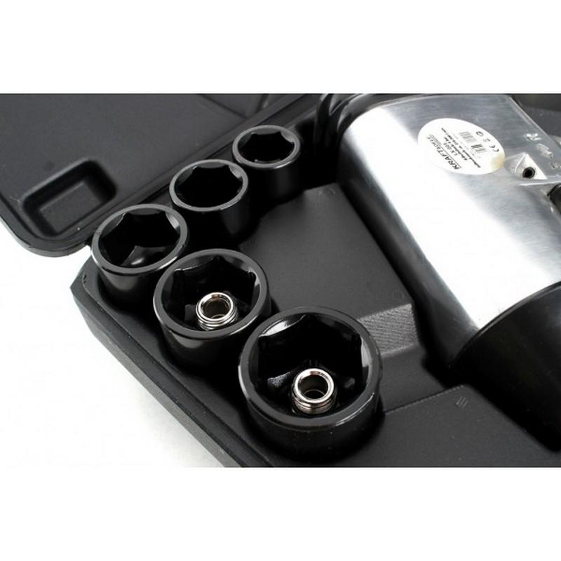 Veržliasukis pneumatinis smūginis 1/2''  su galvutėmis 17vnt., + terkšlė (KD1422)