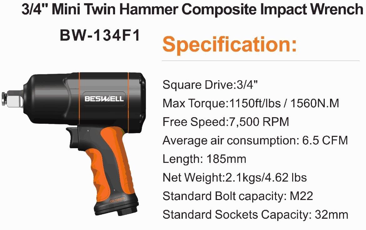 """Pneumatinis smūginis veržliasukis   20 mm (3/4"""")   1492 Nm (BW-134F1)"""