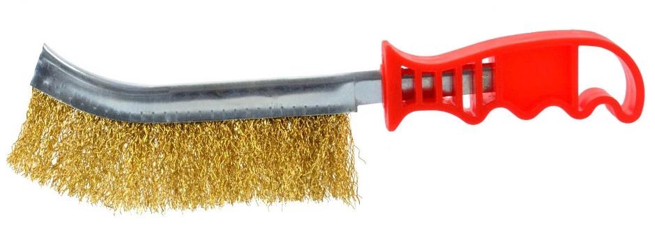 Šepetys vielinis žalvarinis, plastikine rankena (G00645)