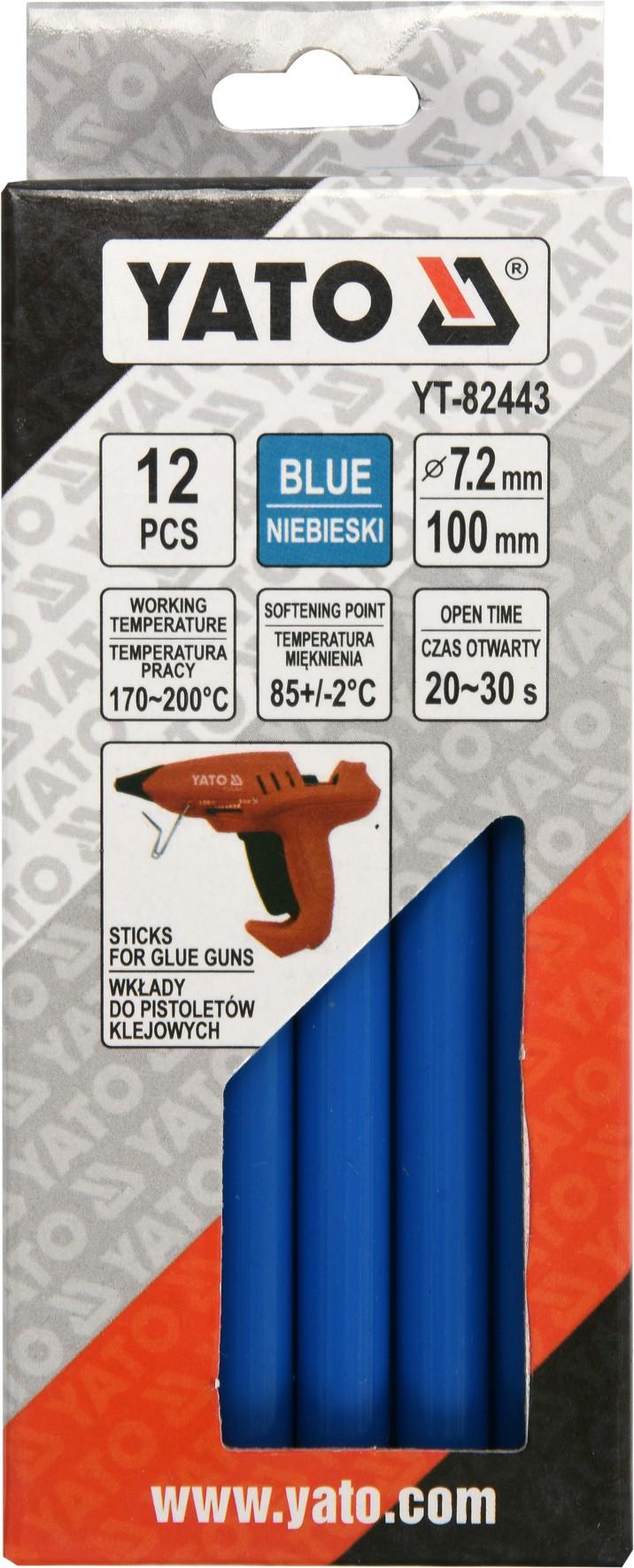 Karštų klijų lazdelės | mėlynos | 7,2X100 mm | 12 vnt. (YT-82443)