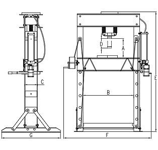Pneumatinis / hidraulinis presas su manometru 40t (TY40002)