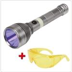 UV žibintuvėlis akumuliatorinis | LI-ION 3.7V | 1500 mAh + akiniai (YT-08588)