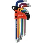 L tipo raktų rinkinys | spalvoti / S2 | T-Star (Torx) / T10 - T50 | 9 vnt. (YT-05633)