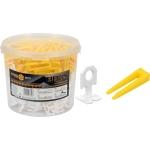 Plytelių išlyginimo sistema | 1 mm / 100 pleištų ir 300 spaustukų rinkinys kibire (04715)