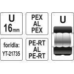 Atsarginis indėklas U 16 mm presavimo replėms YT-21735 (YT-21740)