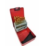 Grąžtų metalui rinkinys | HSS TiN | 1-10 mm | 19 vnt. (EW-0019)