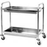 Nerūdijančio plieno serviravimo vežimėlis su 2 lentynom įgilintas (YT-09099)