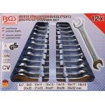 Plokščių raktų rinkinys atviru galu 12 vnt. DIN 3110, 6x7-27x32 mm (1183)