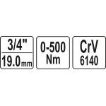 """Raktas dinamometrinis švytuoklinis 3/4"""", 0-500 Nm (YT-07642)"""