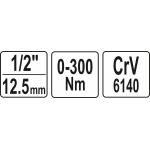 """Raktas dinamometrinis švytuoklinis 1/2"""", 0-300 Nm (YT-07641)"""