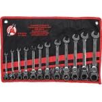 Terkšlinių raktų rinkinys iki 90 ° šarnyriniai 8 - 19mm, 12 vnt. (30002)