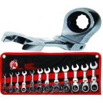 Terkšlinių trumpų šarnyrinių raktų rinkinys 8-19 mm, 12 vnt. (30003)