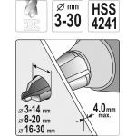 Konusinių grąžtų rinkinys | HSS | 3 dydžiai | 3 vnt. (YT-44730)
