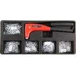 Įrankių rinkinys į vežimėlius - kniediklis su kniedėmis (YT-55466)