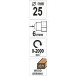 Freza medžiui | 25 mm (YT-61707)