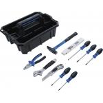 Įrankių nešiojimo dėklas | sustiprintas plastikas | įsk. įrankių asortimentas | 11 vnt. (70225)